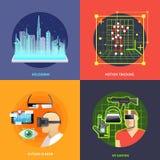 Quadratische Fahnen der virtuellen Realität Stockfotografie
