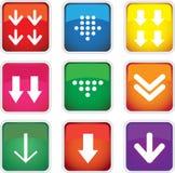 Quadratische Farbdownloadikonen. Lizenzfreie Stockfotos