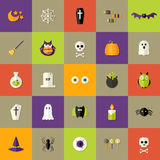 Quadratische flache Ikonen Halloweens eingestellt Stockfotos
