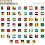 Quadratische Flaggen von Afrika Von Algerien nach Simbabwe lizenzfreie abbildung