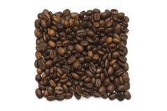 Quadratische Form der Kaffeebohnen Stockfoto