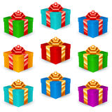 Quadratische Geschenkboxen Mehrfarben Stockfotografie