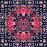 Quadratische indische Wolldecke mit Blume - Mandala und dekorative Grenze Stockbild