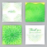 Quadratische Karten mit grünem Lotus Stockfoto