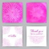 Quadratische Karten mit rosa Lotus Stockfotografie
