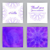 Quadratische Karten mit Violet Lotus Lizenzfreie Stockfotografie