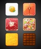Quadratische Lebensmittelikonen Stockfotos
