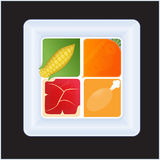 Quadratische Mahlzeit 2 Stockfotos