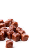 Quadratische Oblaten bedeckt mit Schokolade Stockbild