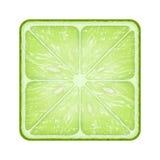 Quadratische Scheibe des Kalkes Getrennt auf weißem Hintergrund Stockfotografie