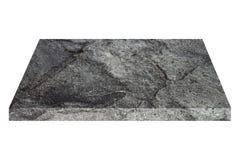 quadratische schwarze Steinplatte lokalisiert auf Weiß Stockfotografie