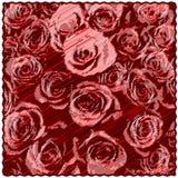 Quadratische Tapisserie mit Blumenmuster von stilisierten Rosen auf diagonalem Schmutz streifte Hintergrund lizenzfreie abbildung