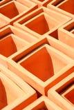 Quadratische Terra Cotta Pots Lizenzfreie Stockfotografie