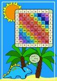Quadratische Vermehrung Farbtabelle für das Multiplizieren von Mathematik mit Dino Druckplakat für Unterrichtsmaterialschüler in  stock abbildung