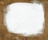 Quadratische weiße Farbe auf altem Gips Stockbild