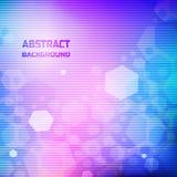 Quadratischer abstrakter Hintergrund Sechseckiger greller Glanz auf den kosmischen Steigungsfarben mit horizontalen Linien Lizenzfreies Stockbild