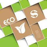 Quadratischer grüner Hintergrund mit Ökologiezeichen stockfotos