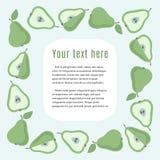 Quadratischer Grenzrahmen mit grünen Birnen und Probe simsen Stockfotos