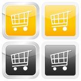 Quadratischer Ikonen-Einkaufswagen Lizenzfreies Stockbild