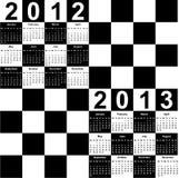 Quadratischer Kalender für 2012 und 2013 Lizenzfreies Stockbild