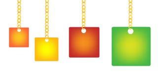 Quadratischer Kennsatz, der ein eine Goldenl Kette anhält Stockbilder