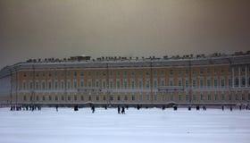 Quadratischer Knie-tiefer Schnee Dvortsovaya in einem Sturm Lizenzfreies Stockbild