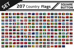 quadratischer Knopf mit 207 Landflaggen Stockbilder