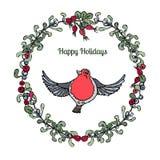 Quadratischer Kranz mit Beeren, Blättern und rotem Robin, Vektor-Illustrations-Weiß Lizenzfreie Stockfotografie