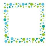 Quadratischer Mosaikmitteilungsrahmen mit einem blauen und grünen Punktmuster, Vektorillustration stockbilder