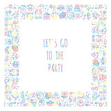Quadratischer Rahmen der Partei Feiermuster Geburtstag, Feiertage, Ereignis, Karneval festlich Parteidekorelemente verdünnen Ikon vektor abbildung