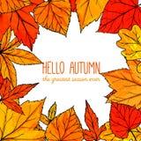 Quadratischer Rahmen des Herbstes mit Hand gezeichneten goldenen Blättern Stockfotos