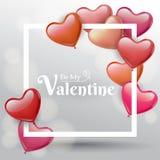Quadratischer Rahmen des Valentinsgrußes mit rotem und rosa Herzballon Lizenzfreie Stockfotos