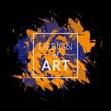 Quadratischer Rahmen des Vektors mit Pinselhintergrund und Textdesign der Kunst Blaue der abstrakten Abdeckung grafische und oran Lizenzfreies Stockbild