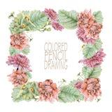 Quadratischer Rahmen mit schönen Frühlingsblumen und -anlagen Stockfotografie