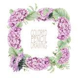 Quadratischer Rahmen mit schönen Frühlingsblumen und -anlagen Lizenzfreies Stockfoto