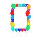 Quadratischer Rahmen von bunten Ballonen im Stil des Realismus zu Karten entwerfen, Geburtstage, Hochzeiten, Fiesta, Feiertage, Lizenzfreie Stockfotografie