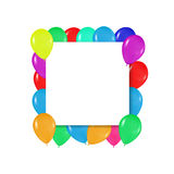 Quadratischer Rahmen von bunten Ballonen im Stil des Realismus zu Karten an entwerfen, Geburtstage, Hochzeiten, Fiestaeinladungen Lizenzfreie Stockfotos