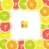 Quadratischer Rahmen von den Stücken der Zitrone, Orange, Kalk, Pampelmuse Stockbilder
