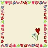 Quadratischer Rahmen von Herzen auf einem gelben Hintergrund Stockfotografie