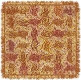 Quadratischer Teppich mit Schmutz streifte gewirbeltes Muster in Braunem, gelb, weiß stock abbildung