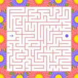 Quadratisches Farblabyrinth Ein interessantes Spiel für Kinder Einfache flache Vektorillustration lokalisiert auf weißem Hintergr Stock Abbildung