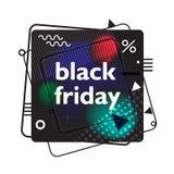 Quadratisches Plakat in Memphis-Art Schwarzer Freitag, Verkauf Geometrische Elemente auf schwarzem Hintergrund Lizenzfreie Stockfotos