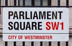 Quadratisches Verkehrsschild des Parlaments stockfotografie
