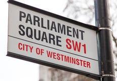 Quadratisches Verkehrsschild des Parlaments lizenzfreies stockfoto