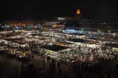 Quadrato alla notte, Marrakesh di EL-Fnaa di Jemaa Fotografie Stock Libere da Diritti
