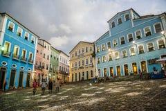 Quadrato alla notte, Salvador, Bahia, Brasile di Pelourinho fotografia stock