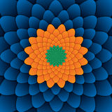 Quadrato blu del fondo del fiore del modello decorativo astratto della mandala immagine stock libera da diritti