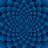 Quadrato blu del fondo del modello decorativo della mandala del fiore dell'estratto di arte di illusione fotografia stock libera da diritti