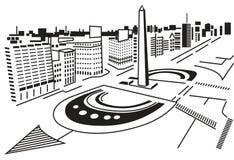 Quadrato in città. illustrazione di stock