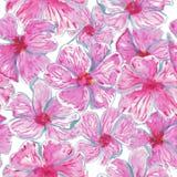 Quadrato completo dell'acquerello del modello di fiori tropicale illustrazione vettoriale